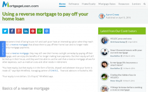 MortgageLoan.com: Using a reverse mortgage to pay off your home loan