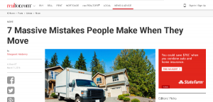 Realtor.com Featured Mary Catchur March 11, 2016 in an Article About Massive Mistakes People Make When They Move